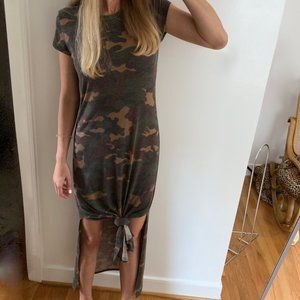 Camouflage Jersey Slit Maxi Dress